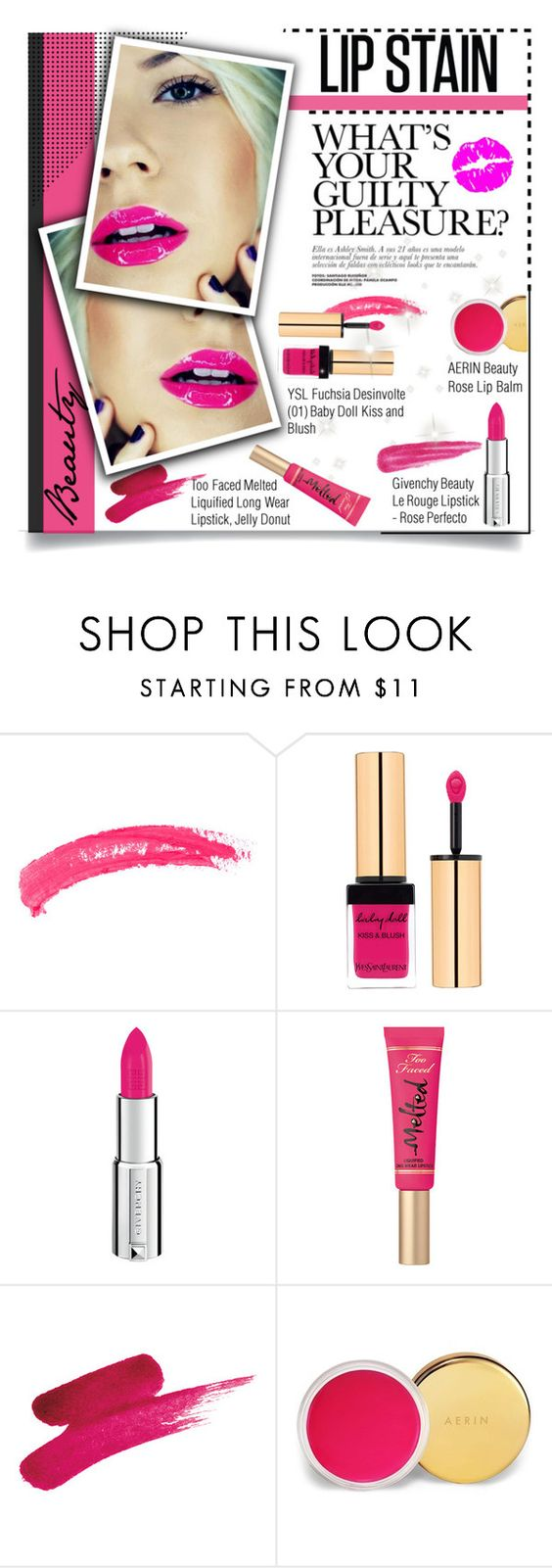 """""""Pucker Up: Lip Stains for Spring"""" by mada-malureanu ❤ liked on Polyvore featuring beauty, Topshop, Yves Saint Laurent, Givenchy, Too Faced Cosmetics, AERIN, Betsey Johnson and lipstain"""