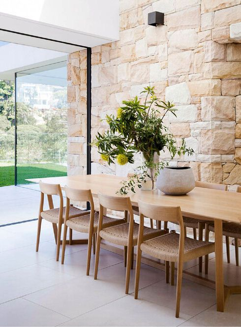 Exterior Stone Wall Extends Through The Dining Room Stone Feature Wall Open Dining Room Pavilion Design