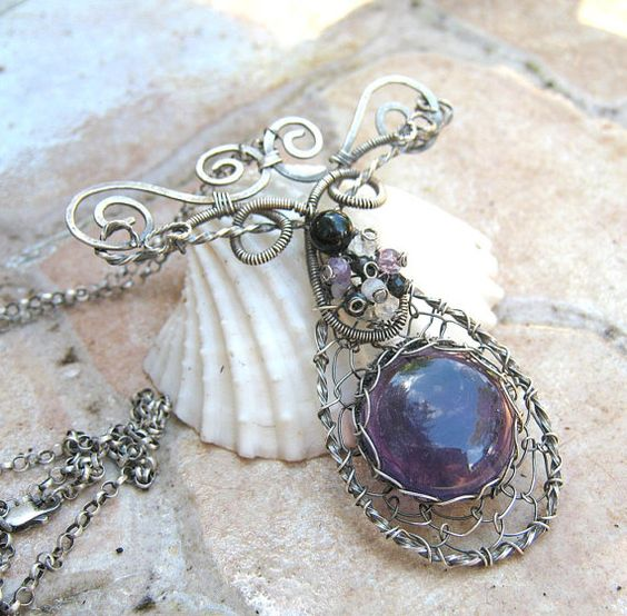 amethyst necklace in sterling silver with by EdisLittleTreasures, $129.00