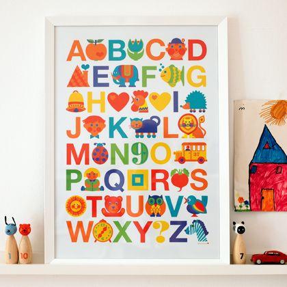 Abc Poster - Original Designs von Graziela Preiser auf Bettwäsche, Geschirr, Stoffe, Kinderschlafanzüge und vielem mehr