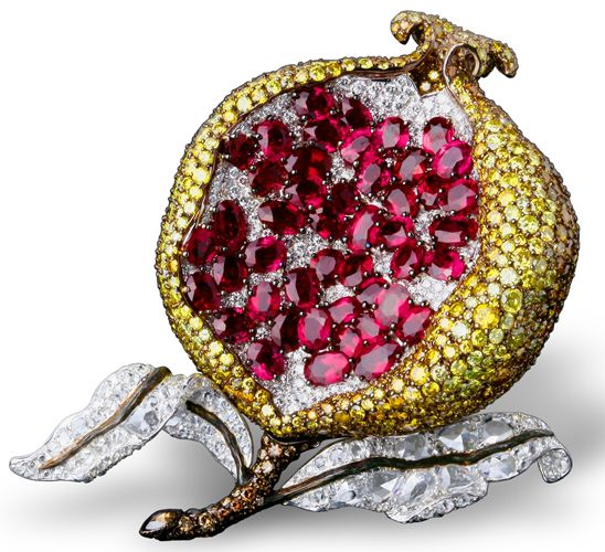 """Garnets, diamonds, sapphires all in this """"pomegranite"""" brooch, Michelle Ong, in her Carnet jewellery line,:"""