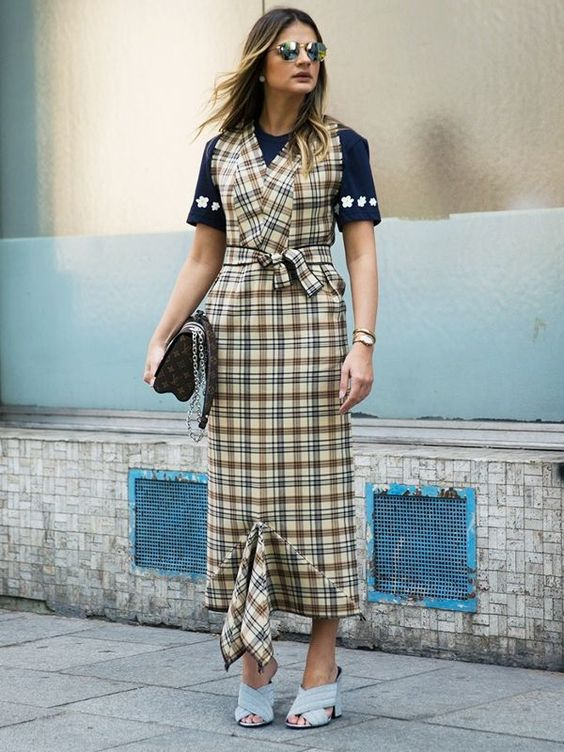 Summer outfit ideas:  Layering a Pinafore Dress for Upper-Arm Coverage