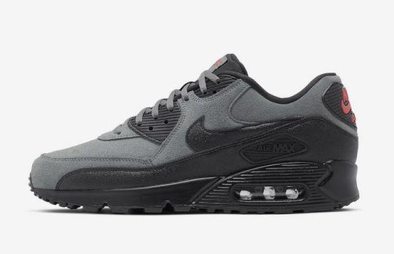 Nike Air Max 90 Essential Grey Black Red Aj1285 025 Men S Running
