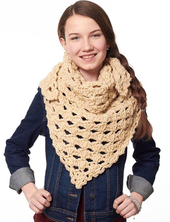 Yarnspirations Free Crochet Patterns : Yarnspirations.com - Bernat Kerchief Scarf - Patterns ...