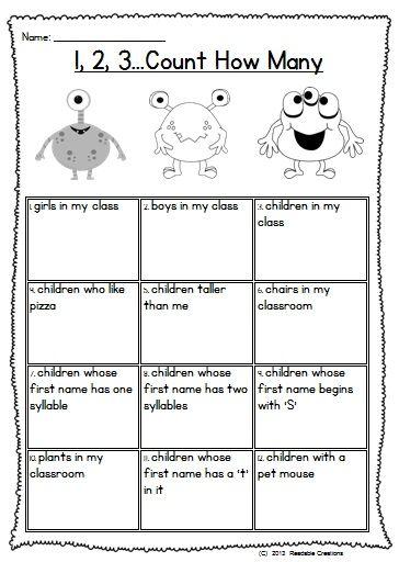 math worksheet : back to school mega monster fun  literacy and math  school  : Back To School Math Worksheets