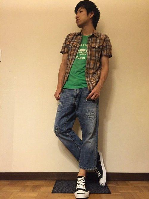 いつもイイね、セーブ、フォローありがとうございます^ ^ とりあえずチェックシャツに、この緑のTシャ