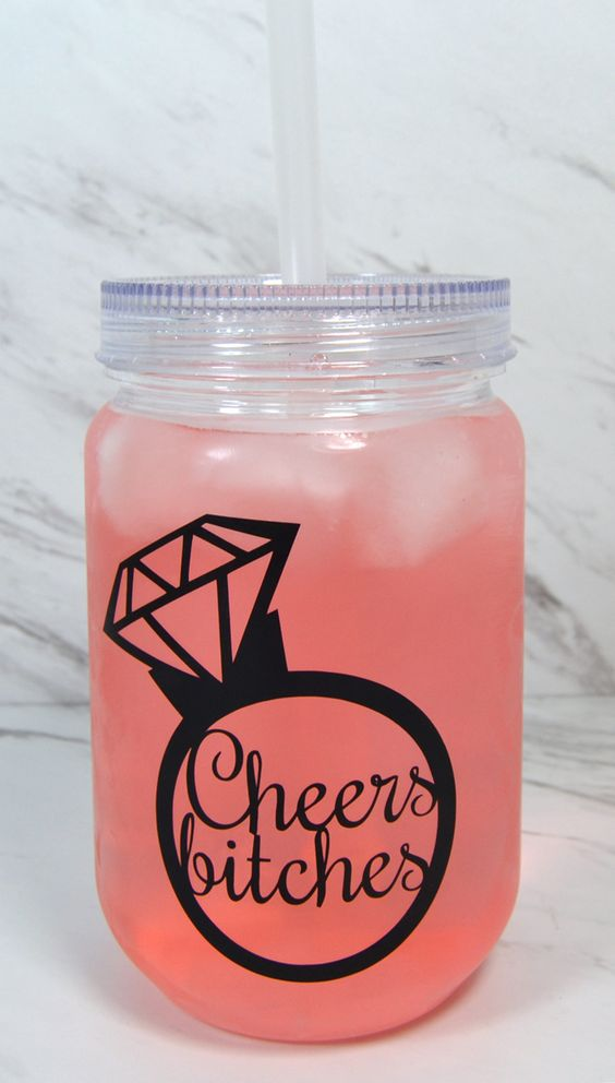 Fun bachelorette party favor - Cheers Bitches party cup with lid. You can customize it by picking the design color and adding names or a message to the opposite side.