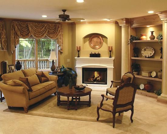 Furniture Placement With Fireplace Sofa