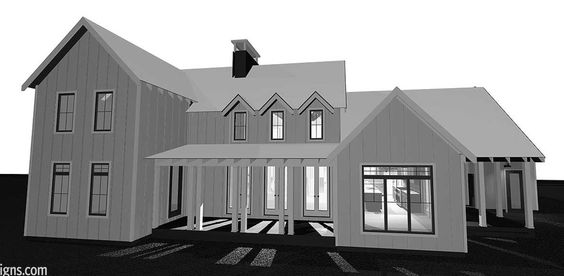 Exterior layout. Like the idea of covered side porch on the right.