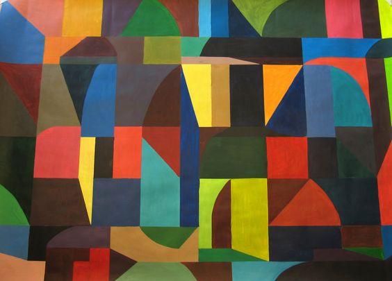 kleurcontrast, hoekige en ronde vormen tegenover elkaar, licht donker contrast.