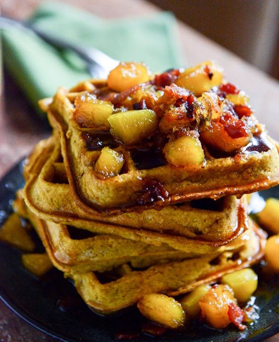 Pumpkin Spice Waffles with Butternut Bacon Syrup