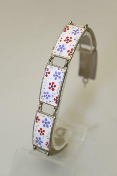 Armkette original antik vintage 1950er 50s versilbert emailliert Blumen Punkte