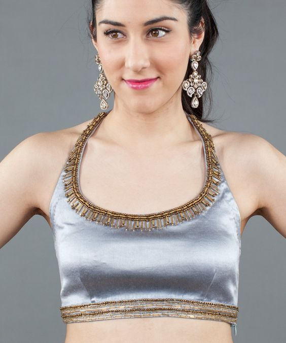 Dark Silver Stretch Satin Halter Blouse by Kavita Bhartia. Buy: $158 #Luxemi #KavitaBhartia
