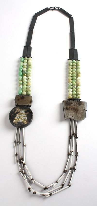 Zoe Arnold--Man in the moon, moth necklace. Silver, enamel, glass, Andean Opal, 18ct gold, Druzy, Chrysophrase