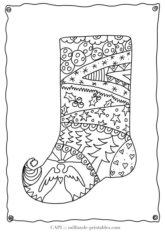 decorated christmas stockings coloring pages - photo#12