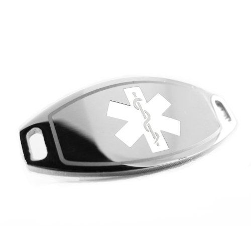 Pre-Engraved - Diabetes Type 2 Medical Alert ID Tag, Attachable to Bracelet, White Symbol for only $19.99 You save: $8.00 (29%)