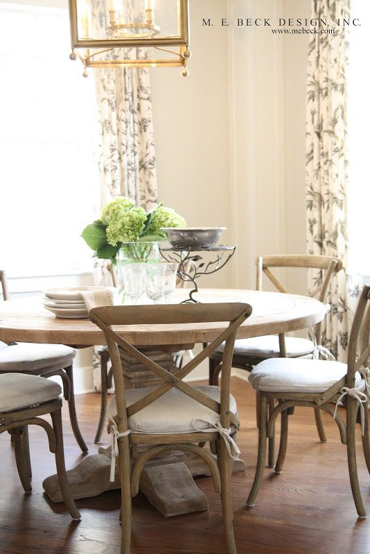 Breakfast nook, Pedestal table, French bistro chairs, warm neutrals...
