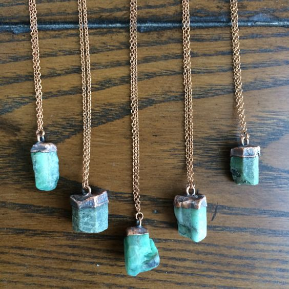 Emerald crystal necklace Raw emerald necklace by HAWKHOUSE