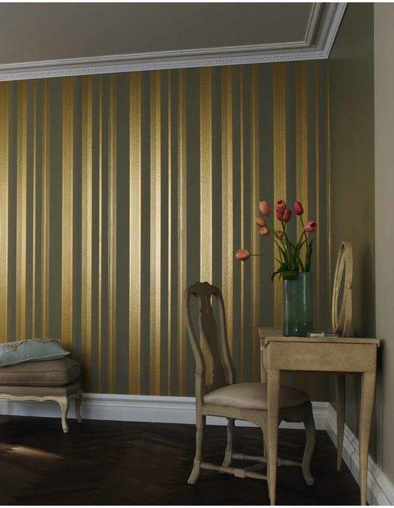 Papel pintado rayas dorado Gaulan