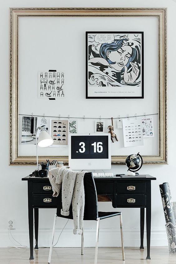 Riches for Rags empty frame work space black and white