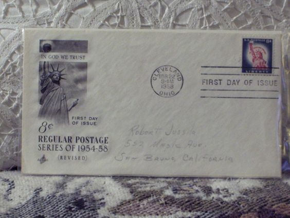 http://ajunkeeshoppe.blogspot.com/  First Day Issue / Cover - Stamp - Regular Postage 1958 8c 8ozP725B4HP1202