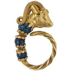 1970s Lalaounis Bull Sodalite Gold Ring