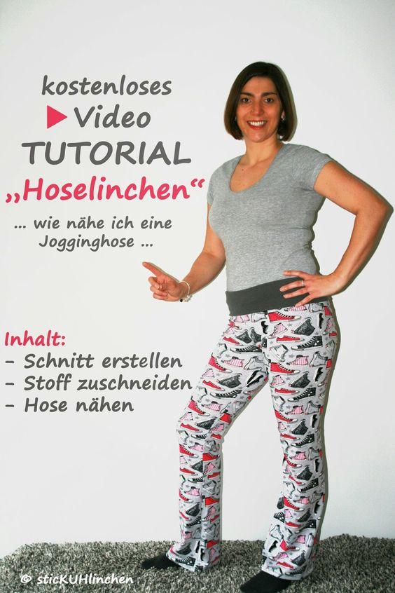 Jogginghose / Yogahose / Leggins nähen - Videotutorial  - Schnitt erstellen - Zuschnitt - Hose nähen sticKUHlinchen