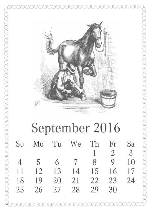 Calendar, September, 2016, Vintage, Horse, Bucket: