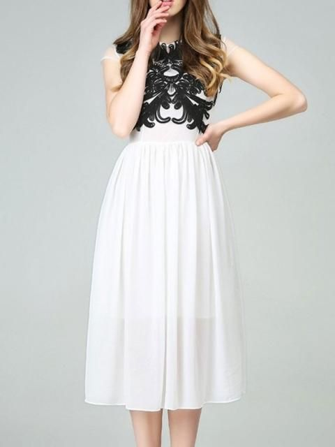 White Chiffon Dress With Disa Floret In Top   Choies