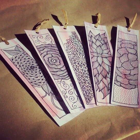 diy bookmark zentangle flower design bookmark design ideas - Bookmark Design Ideas