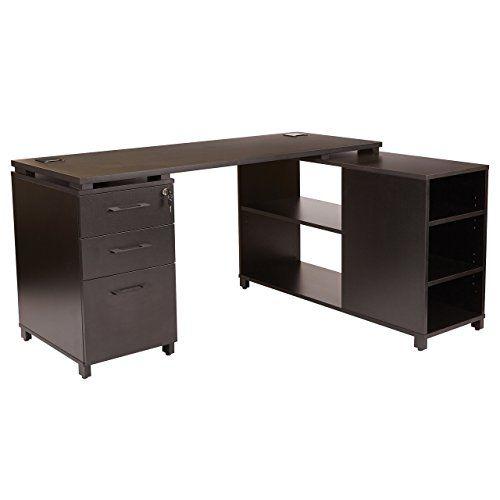 Office Star Prd6024 Blk Prado 60 Inch L Shaped Desktop And Storage Unit Black L Shaped Desk Storage Sets Desk