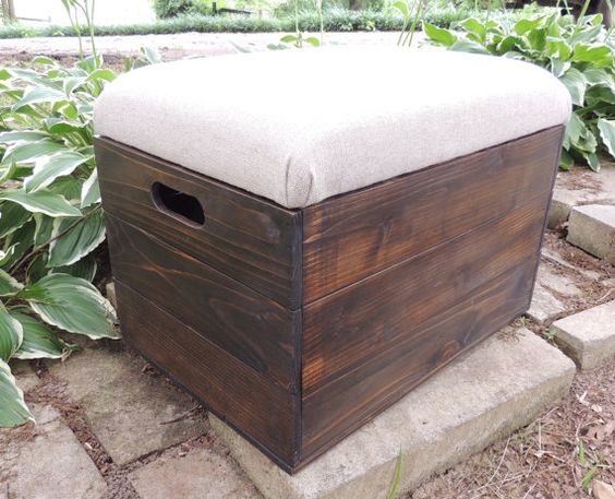Rustic cedar wooden crate foot stool seat by for Wood crate bench