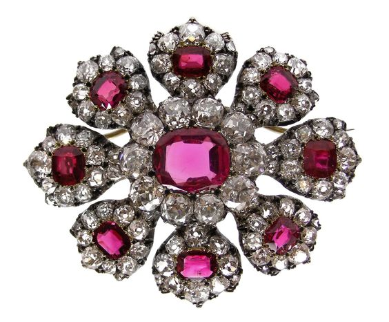 Antique ruby and diamond cluster brooch, c.1820