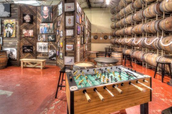 Adelbert's Brewery Taproom in Austin, TX - foosball and artwall Photo by: Kevin Gourley