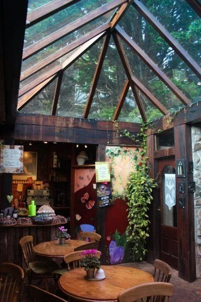 Love the greenhouse roof on this little cafe, coffee shop, whatever.