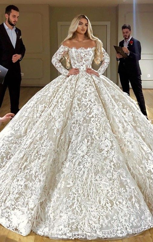 Off Shoulder Full Lace Ball Gown Wedding Dress Luxury Long Sleeves Dubai Wedding Gowns Ball Gowns Wedding Lace Wedding Dress With Sleeves Wedding Dress Guide