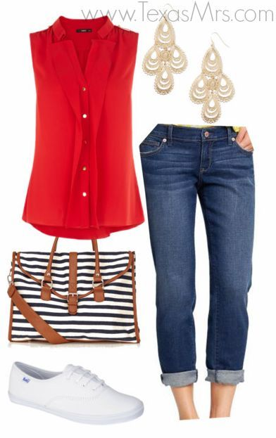 4th of July outfit idea. Perfect for those ladies who dont like to wear heels wedges or sandals.: