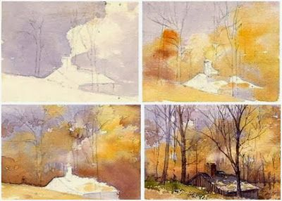 Free step by step watercolor landscape painting demo for Watercolor scenes beginners