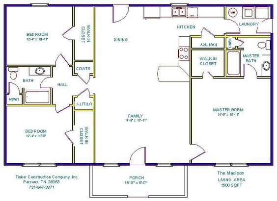 Open floor plans with basements floor plans and details House plans less than 1500 square feet
