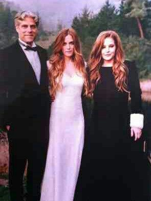 Riley on her wedding day with her parents, Danny Keough and Lisa Marie Presley: