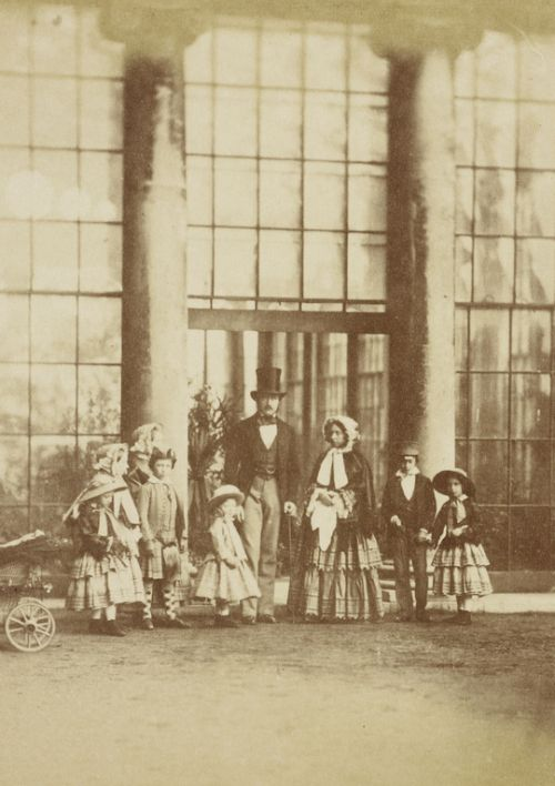 Queen Victoria and Prince Albert with seven of their children,...