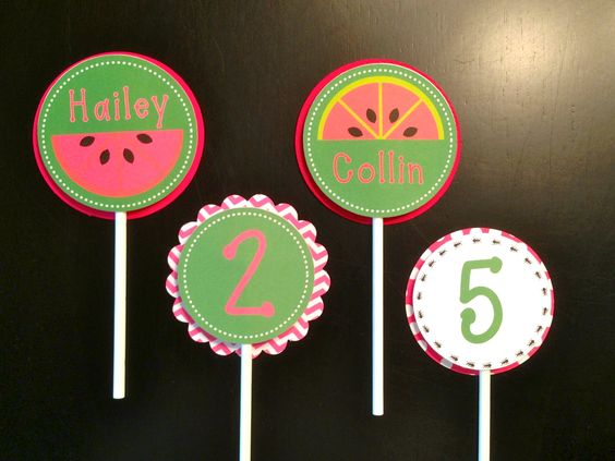 Cupcake toppers from the watermelon picnic set #watermelon #picnic #birthday #cupcaketopper