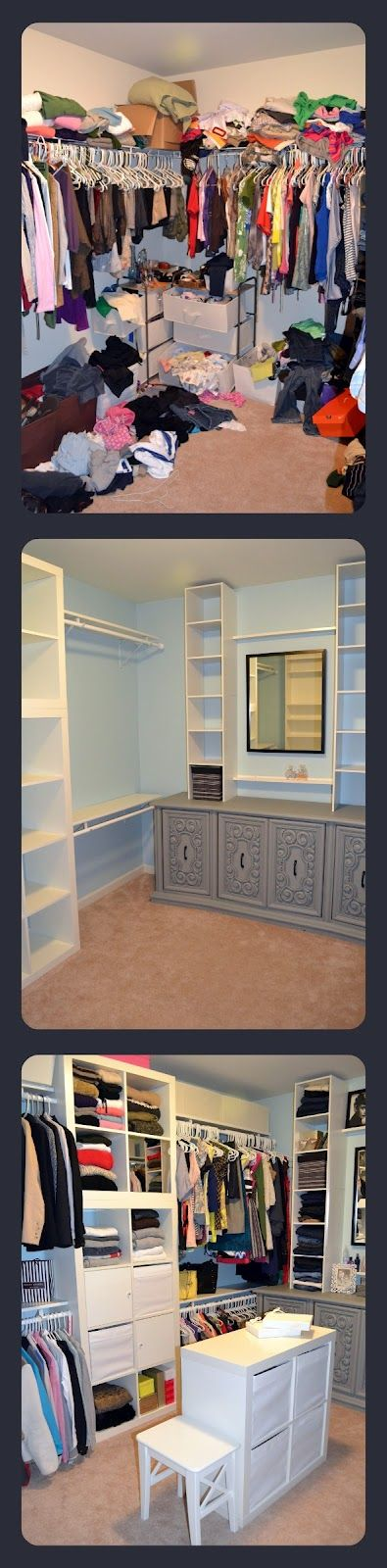 Closet makeover with ikea expedit cheap closet buit ins for Cheap walk in closet ideas