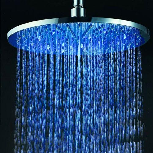 12 Inch Solid Brass Round Led Rain Shower Head In Chrome Led Shower Head Brass Shower Head Shower Heads