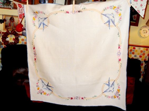 vintage hand embroidered swallow table cloth