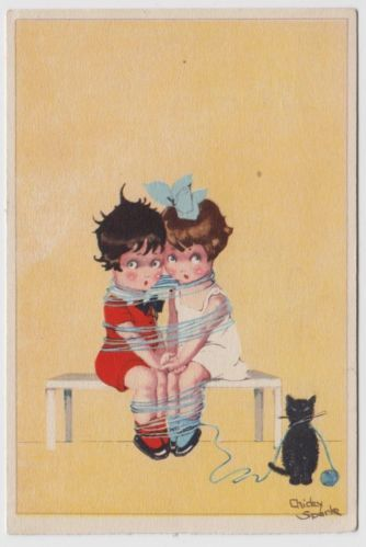 POSTCARD - artist signed Chicky Spark, cute kids & black cat tangled in wool | eBay: