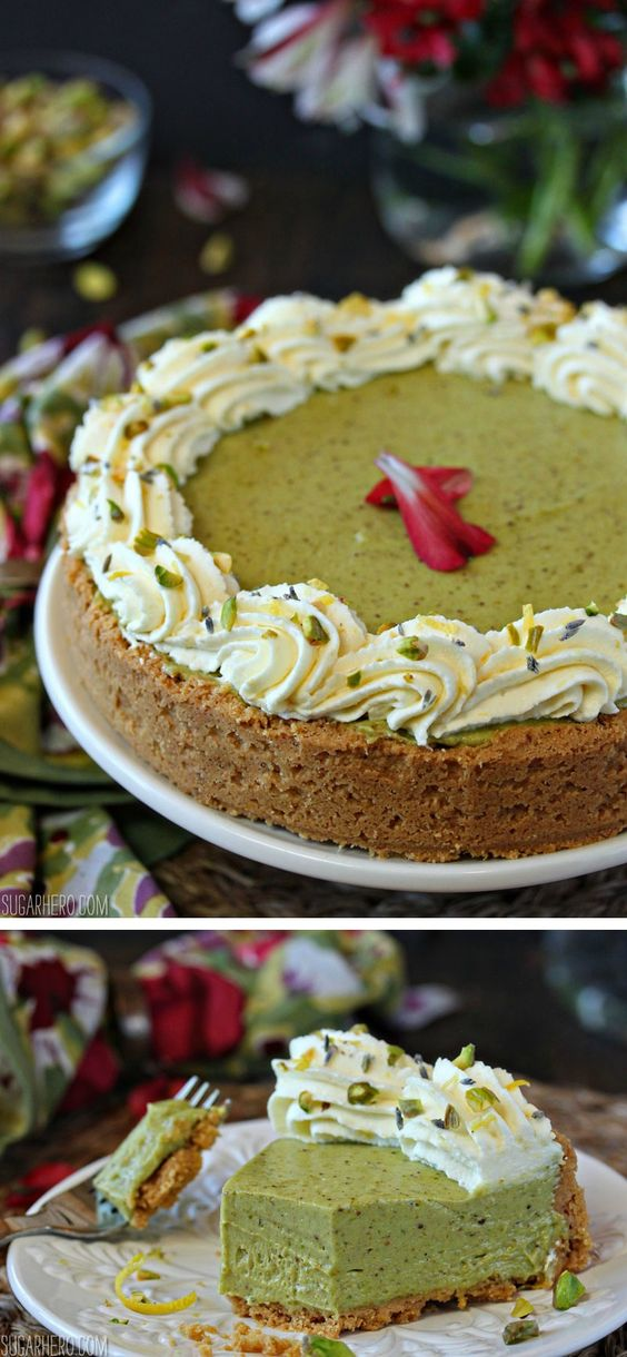 Pistachio Pie - with a lemon cookie crust, mousse-like pistachio filling, and lemon whipped cream!