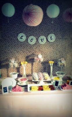 Cute Love Sign, Colors & LOVE the idea of having paper lanterns at a Bridal Shower :)