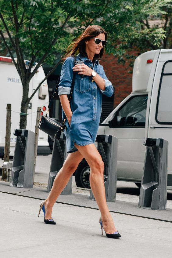 Women&39s Blue Denim Casual Dress Black and Blue Suede Pumps Black ...