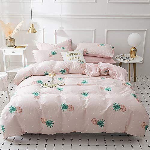 Enjoybridal Pink Pineapple Duvet Cover Sets Queen Kids Cotton Comforter Cover Full Sets With Zipper Clo Kids Duvet Cover Pink Duvet Cover Geometric Duvet Cover